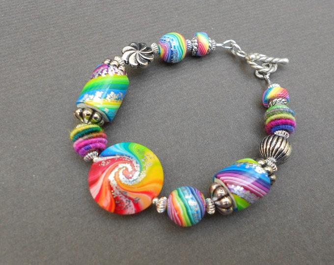Boho bracelet,Rainbow bracelet,Statement bracelet,Polymer clay bracelet,OOAK bracelet,Swirl bracelet,Hippie bracelet,Artisan bracelet