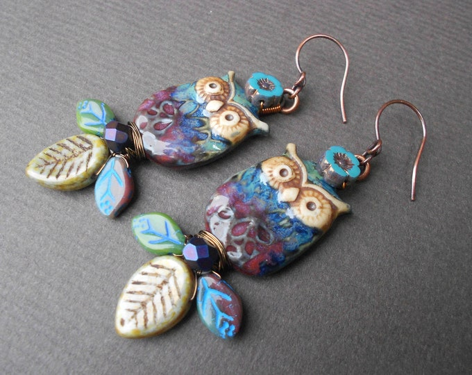 Boho earrings,Owl earrings,Leaf earrings,Ceramic earrings,Glass earrings,Autumn earrings,OOAK earrings,Artisan earrings,Porcelain earrings