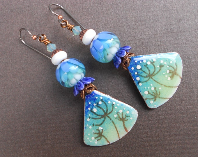 Floral earrings,Winter earrings,Enamel earrings,Lampwork earrings,Copper earrings,OOAK earrings,Ombre earrings,Niobium earrings,Artisan,Boho