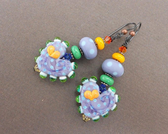 Multicolour earrings,Heart earrings,Dangle earrings,Boho earrings,OOAK earrings,Lampwork earrings,Purple earrings,Romantic earrings