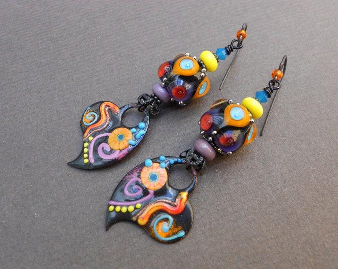 Boho earrings,Multicolour earrings,Heart earrings,OOAK earrings,Lampwork earrings,Enamel earrings,Romantic earrings,Dangle earrings,Artisan