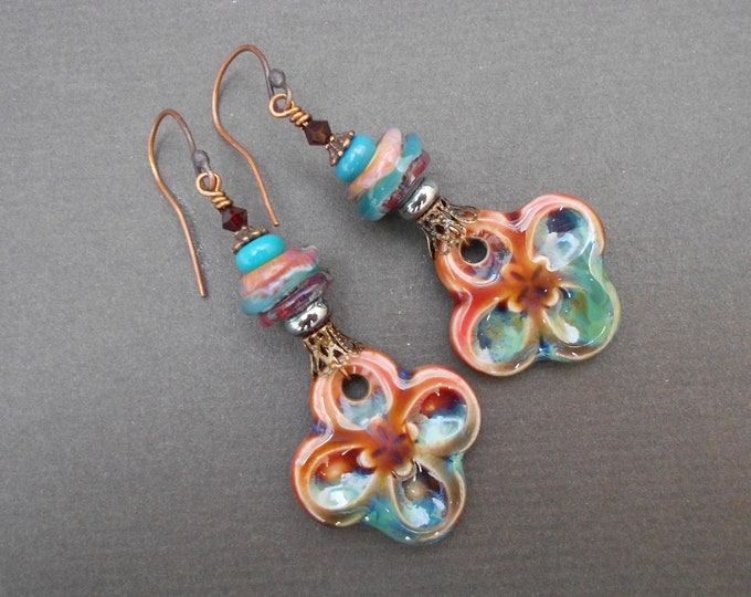 Boho earrings,Ceramic earrings,Glass earrings,Lampwork earrings,OOAK earrings,Flower earrings,Floral earrings,Summer earrings,Artisan