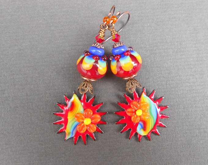 Boho earrings,Hippie earrings,Sunburst earrings,Enamel earrings,Lampwork earrings,Copper earrings,OOAK earrings,Flower earrings,Artisan,Red