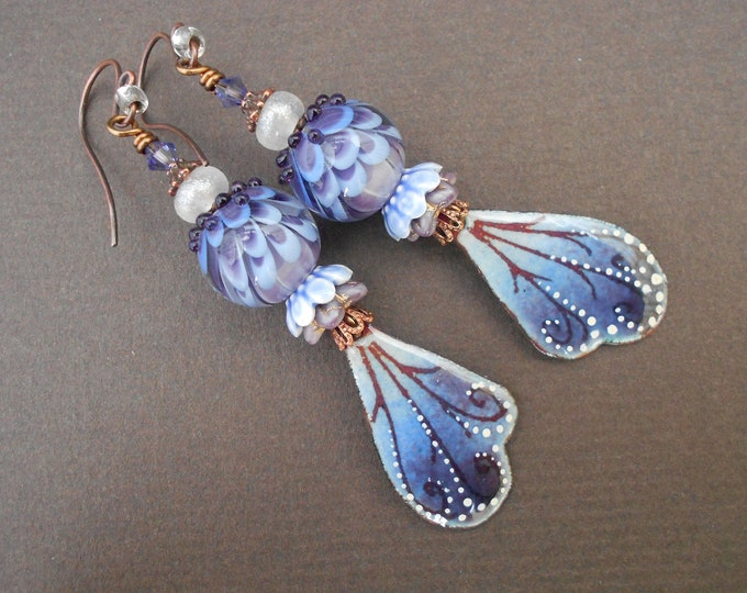 Boho earrings,Ombre earrings,OOAK earrings,Wing earrings,Floral earrings,Enamel earrings,Lampwork earrings,Long earrings,Summer earrings