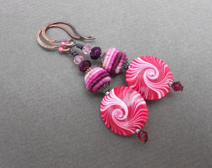 Boho earrings,Ombre earrings,Swirl earrings,Fabric earrings,Multicolour earrings,OOAK earrings,Polymer clay earrings,Swirl earrings