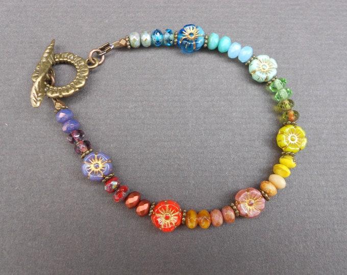 Flower bracelet,Rainbow bracelet,Floral bracelet,OOAK bracelet,Artisan bracelet,Glass bracelet,Autumn bracelet,Boho bracelet,Summer bracelet
