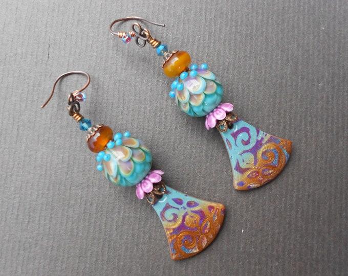 Boho earrings,Multicolour earrings,Polymer clay earrings,Clay earrings,Lampwork earrings,Artisan earrings,OOAK earrings,Copper earrings