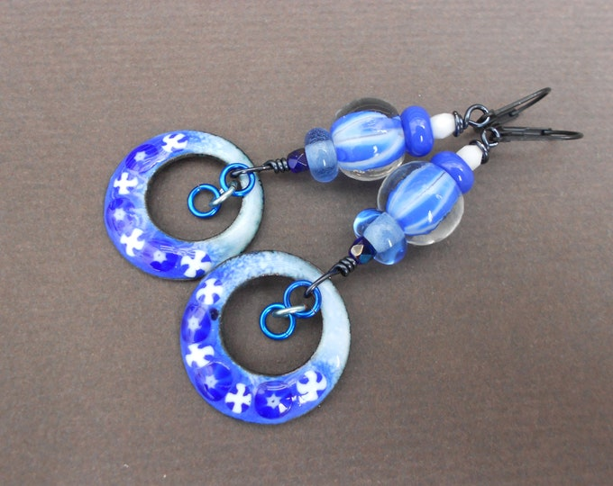 Boho earrings,Lampwork earrings,Multicolour earrings,Enamel earrings,Hoop earrings,OOAK earrings,Dangle earrings,Ombre earrings,Blue