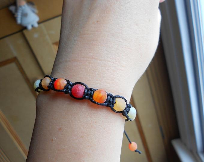 Shamballa bracelet,Macrame bracelet,Fire Agate bracelet, Multicolour bracelet,Adjustable bracelet,Ombre bracelet,boho bracelet,orange bracel