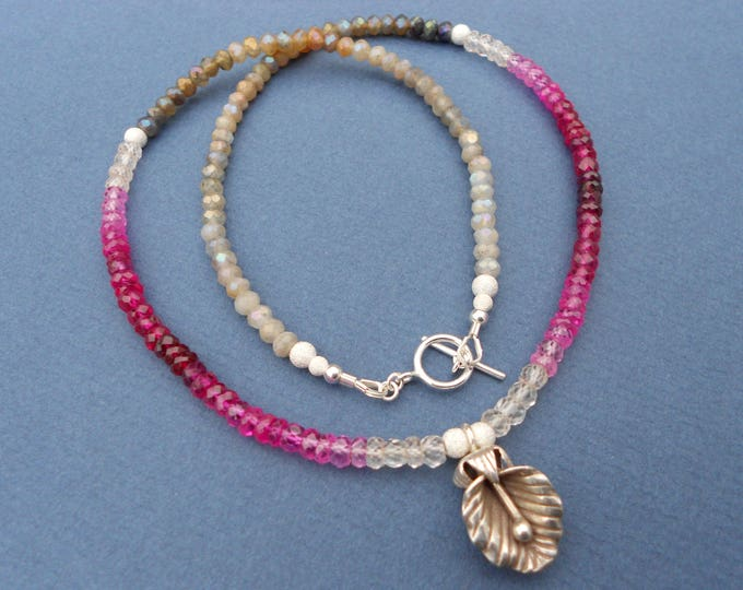 Multicolour necklace,Silver Pendant,Gemstone necklace,Labradorite necklace,Sapphire necklace,Flower necklace,Silver necklace,Ombre necklace