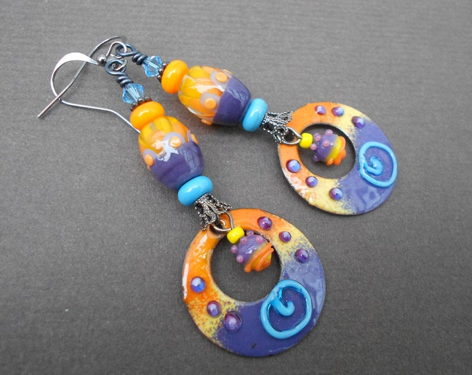 Boho earrings,Hoop earrings,Lampwork earrings,Enamel earrings,Ombre earrings,OOAK earrings,Beach earrings,Abstract earrings,