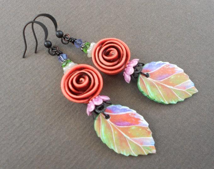 Flower earrings,Rose earrings,Floral earrings,Leaf earrings,Polymer clay earrings,Clay earrings,Romantic earrings,OOAK earrings,Artisan,Boho