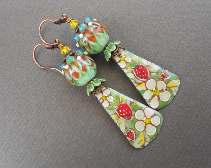 Summer earrings,Fruit earrings,Strawberry earrings,Lampwork earrings,Enamel earrings,OOAK earrings,Copper earrings,Flower earrings