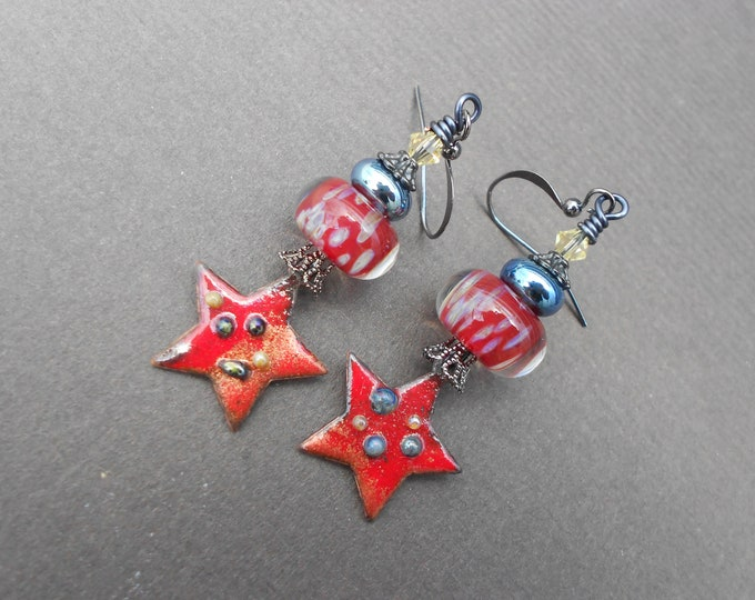 Boho earrings,Star earrings,Celestial earrings,Lampwork earrings,Enamel earrings,OOAK earrings,Artisan earrings,Dangle earrings,Red earrings