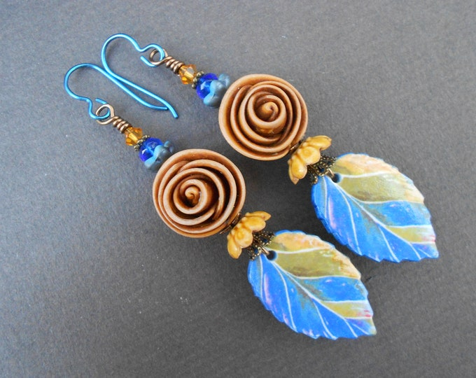 Boho earrings,Rose earrings,Leaf earrings,Polymer clay earrings,OOAK earrings,OOAK earrings,Niobium earrings,Flower earrings,Artisan