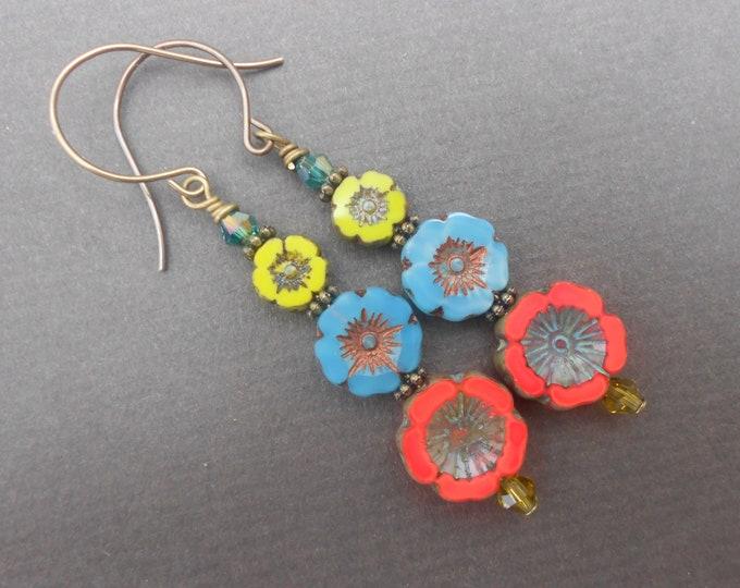 Flower earrings,Floral earrings,Dangle earrings,Boho earrings,Glass earrings,Multicolour earrings,Czech glass earrings