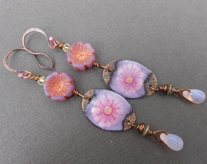Boho earrings,Flower earrings,Enamel earrings,Glass earrings,Long earrings,Drop earrings,OOAK earrings,Summer earrings,Multicolour earrings