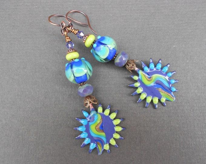 Boho earrings,Hippie earrings,Sunburst earrings,Enamel earrings,Lampwork earrings,Copper earrings,OOAK earrings,Abstract earrings,Artisan