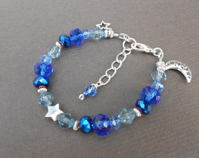 Celestial bracelet,Stars bracelet,Moon bracelet,Charm bracelet,Ombre bracelet,Boho bracelet,Blue bracelet,Czech glass bracelet