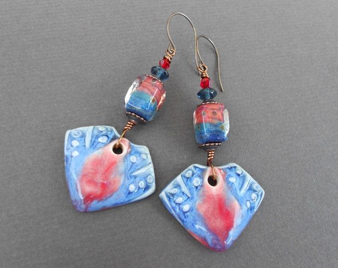 Boho earrings,Tribal earrings,Statement earrings,Multicolour earrings,Ceramic earrings,Lampwork earrings,OOAK earrings,Dangle earrings