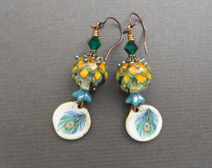 Peacock feather earrings,Summer earrings,Ceramic earrings,Lampwork earrings,OOAK earrings,Drop earrings,Floral earrings,Boho earrings