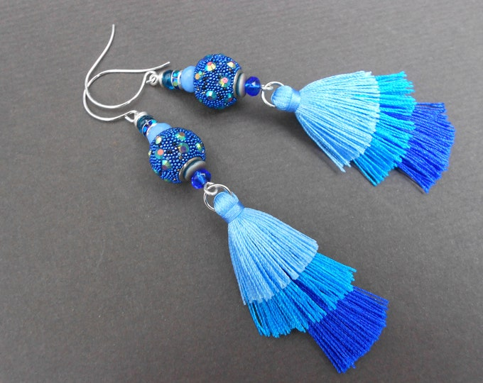 Boho earrings,Long earrings,Tassel earrings,Blue earrings,Ombre earrings,Fabric earrings,Rhinestone earrings,Fashion jewellery,Multicolour