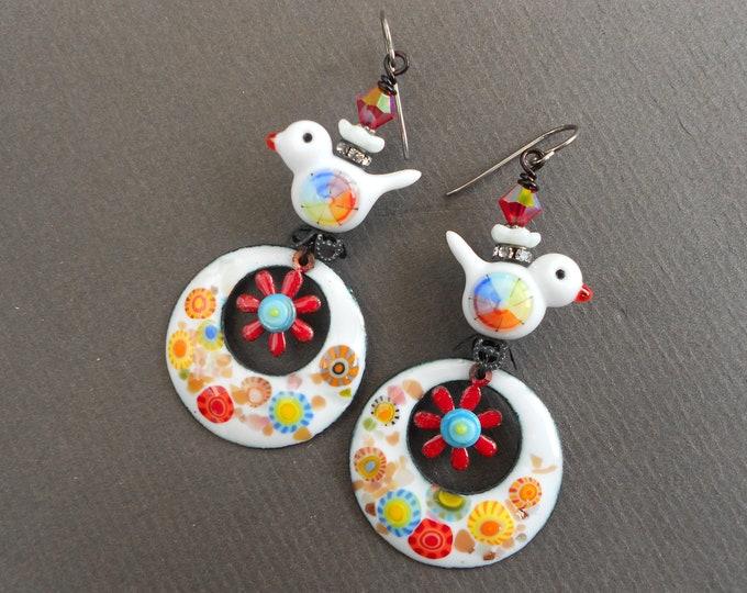 Bird earrings,Summer earrings,Hoop earrings,Floral earrings,Enamelled copper earrings,Lampwork earrings,Enamel earrings,Niobium earrings