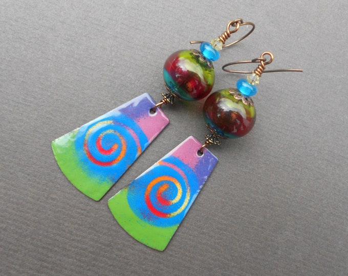 Swirl earrings,Multicolour earrings,Boho earrings,Abstract earrings,Lampwork earrings,Enamel earrings,OOAK earrings,Long earrings