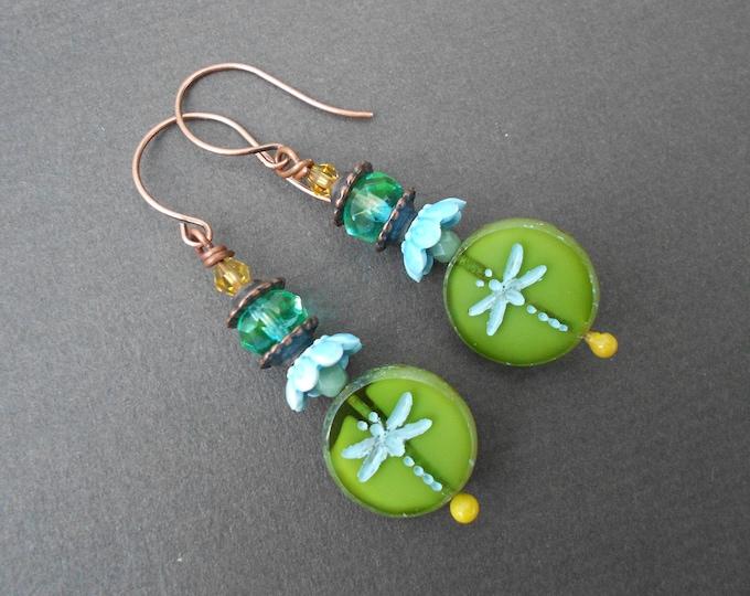 Boho earrings,Dragonfly earrings,Glass earrings,Ceramic earrings,Dangle earrings,Summer earrings,Multicolour earrings