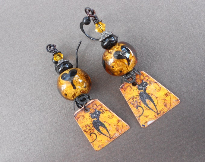 Boho earrings,Halloween earrings,Black Cat earrings,Copper earrings,Lampwork earrings,OOAK earrings,Dangle earrings,Cat earrings,Artisan