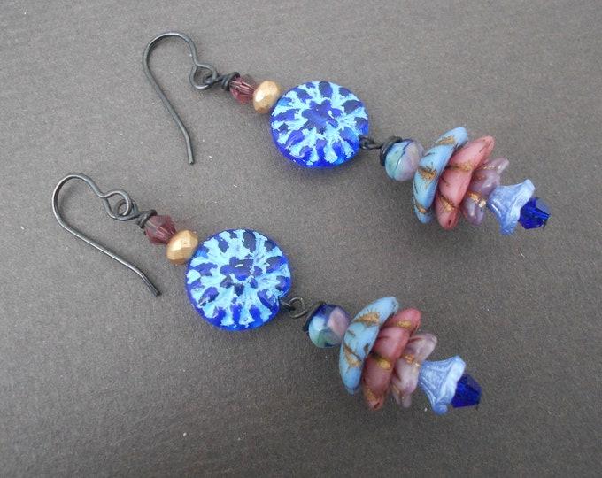 Flower earrings,Czech glass earrings,Boho earrings,Blue earrings,Floral earrings,Multicolour earrings,Dangle earrings,Spring earrings