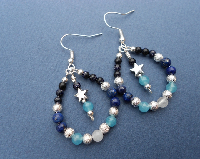 Celestial  earrings,semi precious stone earrings,star earrings,semi hoop earrings,lapis lazuli earrings,ombre earrings,boho earrings