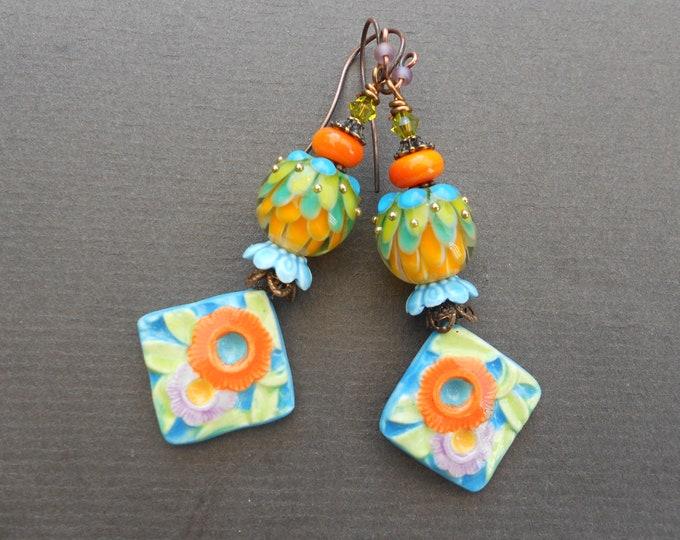Flower earrings,Summer earrings,Floral earrings,Porcelain earrings,Lampwork earrings,OOAK earrings,Ceramic earrings,Glass earrings,Boho