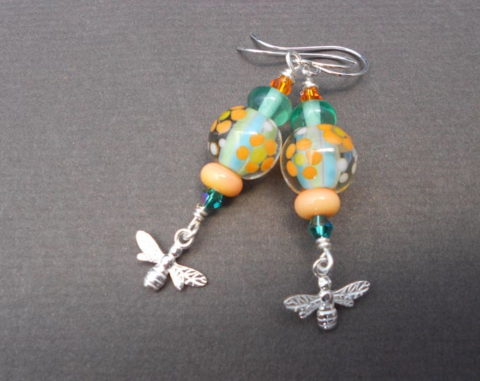 Boho earrings,Multicolour earrings,Drop earrings,Silver earrings,Artisan Lampwork earrings,Bee earrings,Spring earrings,Flower earrings,Ooak