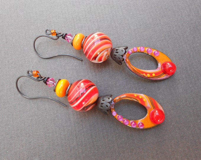 Boho earrings,Lampwork earrings,Enamel earrings,Abstract earrings,Tropical earrings,OOAK earrings,Artisan earrings,Summer earrings,Drops