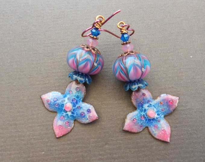 Flower earrings,Summer earrings,Floral earrings,Lampwork earrings,Enamel earrings,Enamelled copper earrings,Niobium earrings,OOAK earrings