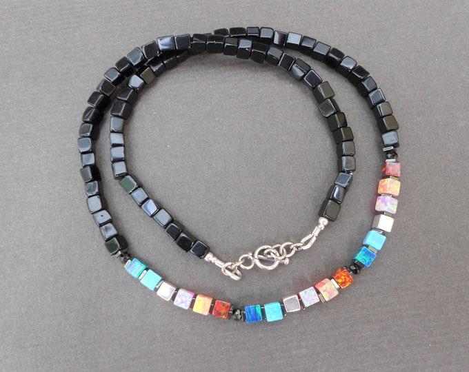 Opal necklace,Beaded necklace,Rainbow necklace,Onyx necklace, Minimalist necklace,Multicolour necklace,Gemstone necklace,Silver necklace
