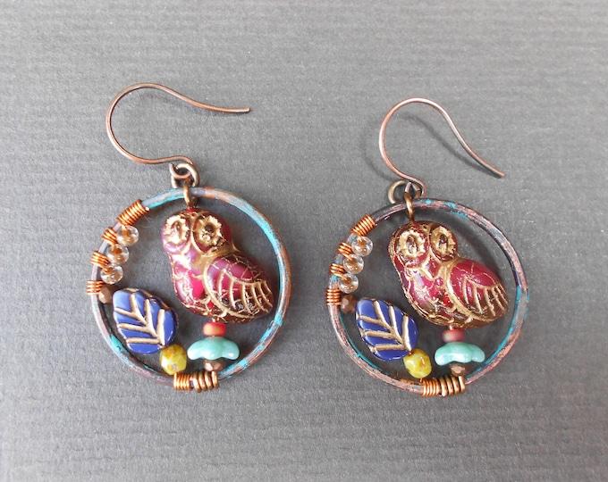 Boho earrings,Autumn earrings,Glass earrings,Owl earrings,Hoop earrings,OOAK earrings,Dangle earrings,Wire wrapped earrings,Artisan hoops