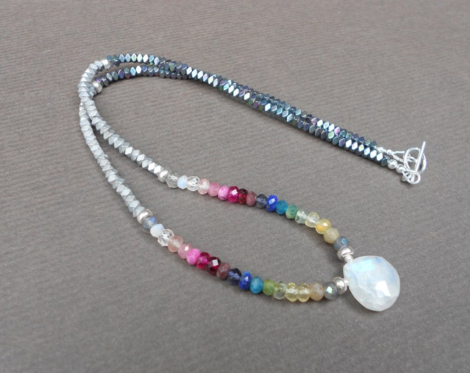Moonstone necklace,Gemstone necklace,Beaded necklace,Boho necklace,Multicolour necklace,Rainbow necklace,Hematite necklace,Lapis necklace