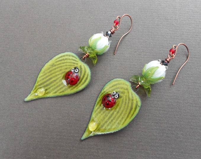 Leaf earrings,Ladybug earrings,Flower earrings,Enamelled copper earrings,Lampwork earrings,Enamel earrings,Ladybird earrings,OOAK earrings