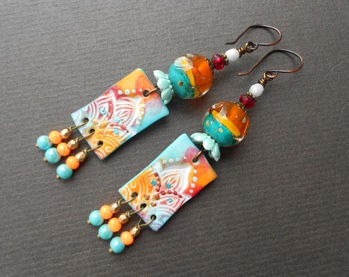 Oriental earrings,Tropical earrings,Glass earrings,Clay earrings,Polymer clay earrings,Lampwork earrings,Rectangle earrings,OOAK earrings