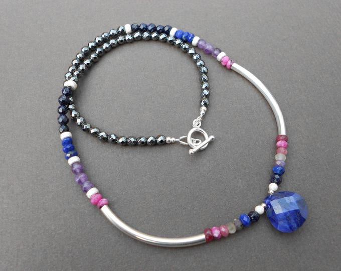 Sapphire necklace,Silver necklace,Ruby necklace,Tourmaline necklace,Gemstone necklace,Beaded necklace,Ombre necklace,Hematite necklace