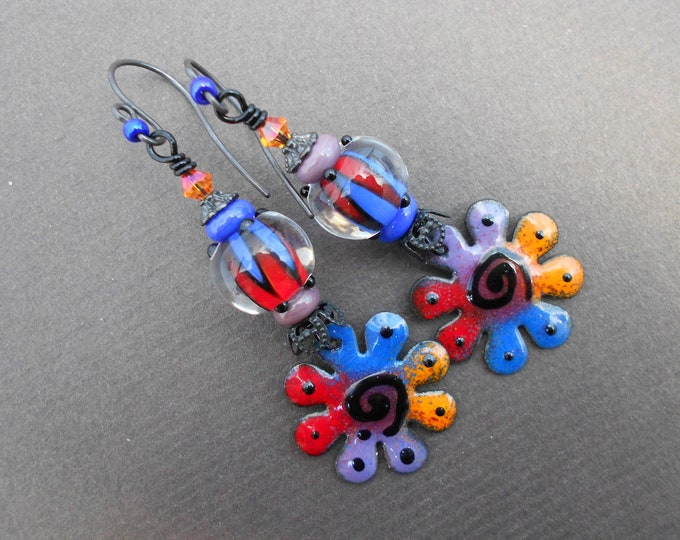 Boho earrings,Multicolour earrings,Enamel earrings,Flower earrings,Mismatch earrings,Lampwork earrings,OOAK earrings,Artisan earrings,Copper
