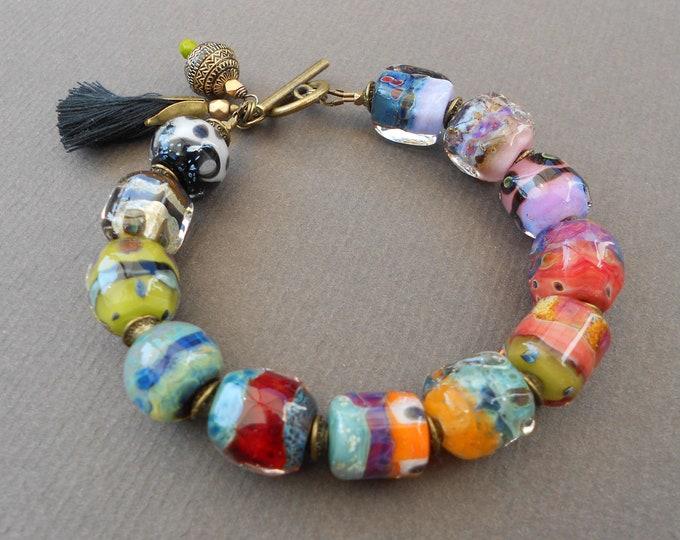 Large Bracelet,Chunky bracelet,Boho bracelet,Lampwork bracelet,Tassel bracelet,Glass bracelet,OOAK bracelet,Multicolour bracelet,Artisan
