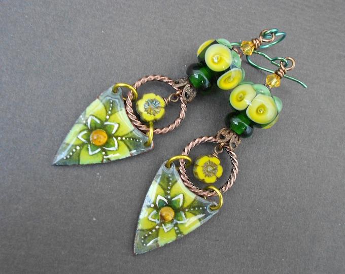 Boho earrings,Flower earrings,OOAK earrings,Enamel earrings,Lampwork earrings,Long earrings,Niobium earrings,Summer earrings,Long earrings