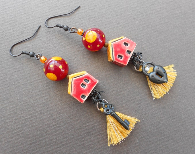 Bohemian earrings,Ceramic earrings,Lampwork earrings,Tassel earrings,Housewarming earrings,OOAK earrings,Mismatched earrings,Lock and key