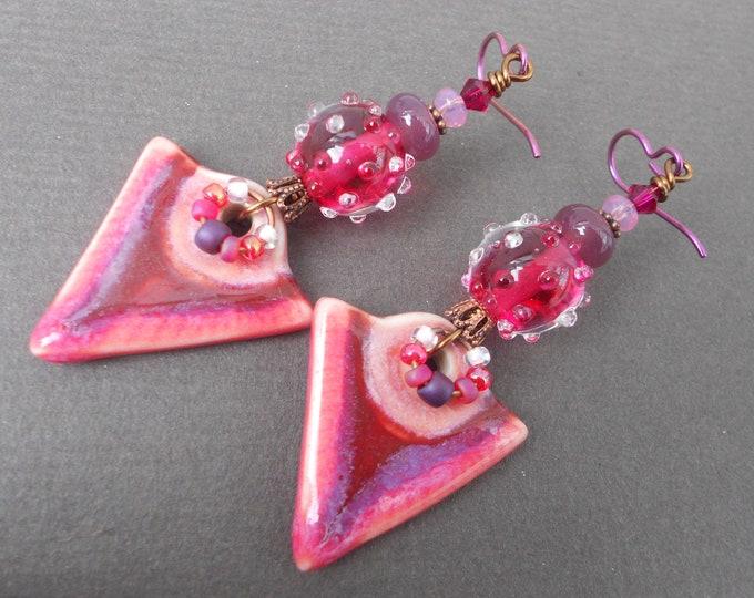 Boho earrings,Ethnic earrings,Lampwork earrings,Ceramic earrings,Triangle earrings,Dangle earrings,OOAK earrings,Niobium earrings,Artisan