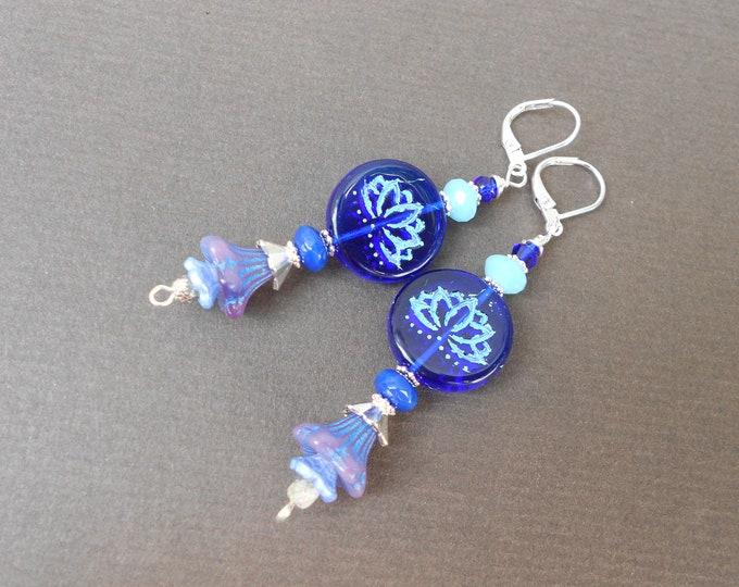 Boho earrings,Meditation earrings,Czech glass earrings,Lotus earrings,Blue earrings,Dangle earrings,Multicolour earrings,Flower earrings