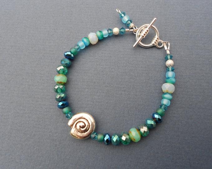 Sea bracelet,Beach bracelet, Sea shell bracelet,Boho bracelet,Beaded bracelet, Czech glass bracelet,teal bracelet,Ombre bracelet,