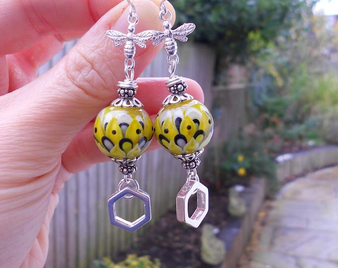 Bee  earrings, Artisan lampwork earrings,teardrop earrings,yellow earrings,sterling silver earrings,multicolour earrings,Ooak earrings